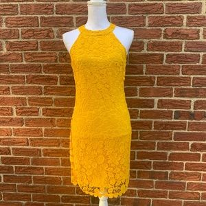 Crochet lace overlay dress